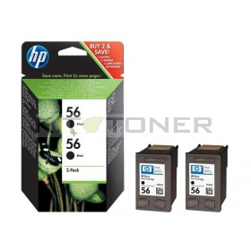 HP C9502AE - Pack de 2 cartouches d'encre noire 56