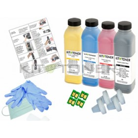 HP CB540A, CB541A, CB542A, CB543A - Kit de recharge toner compatible 4 couleurs