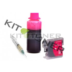 Brother LC1240M - Kit cartouche rechargeable compatible magenta