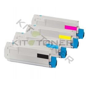 Oki 43865708, 43872306, 43872305, 43872307 - Pack de 4 toners compatibles 4 couleurs