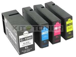 Canon PGI1500XLC, PGI1500XLY, PGI1500XLBK, PGI1500XLM - Pack de 4 cartouches d'encre compatibles
