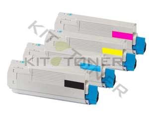 Oki 43865724, 43865722, 43865721, 43865723 - Pack de 4 toners compatibles 4 couleurs