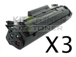 HP Q2612A - Pack de 3 cartouches de toner compatibles 12A