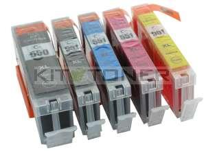 Canon PGI550PGBK, CLI551C, CLI551M, CLI551Y, CLI551BK - Pack de 5 cartouches d'encre compatibles