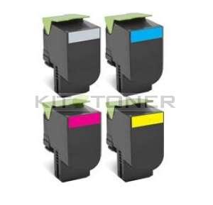 Lexmark 80C2HK0, 80C2HC0, 80C2HM0, 80C2HY0 - Pack de 4 toners compatibles (Noir, Cyan, Magenta, Jaune)