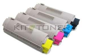 Oki 43324424, 43324422, 43324421, 43324423 - Pack de 4 toners compatibles 4 couleurs