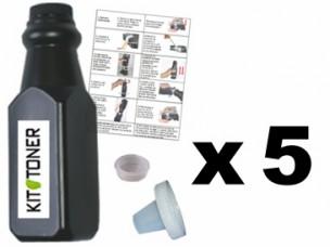 Brother TN6600 - Lot de 5 kits de recharge toner compatibles