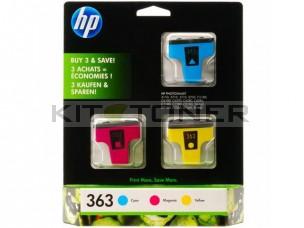 HP CB333E - Pack de 3 cartouches d'encre multicolore 363
