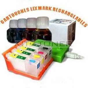 Lexmark 100 - Pack de cartouches rechargeables compatibles + Resetter